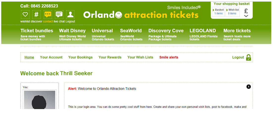 Log into your orlando Attraction Tickets Select your bookings